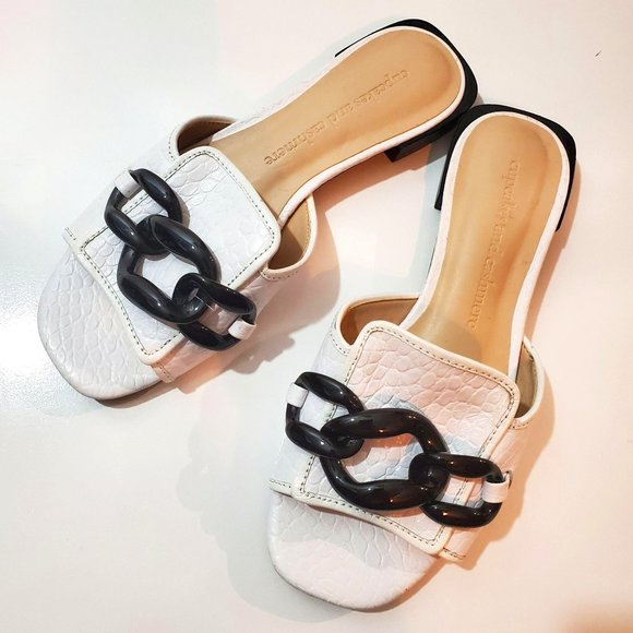 Cupcakes and Cashmere Croc Chain Slip on Sandals 6